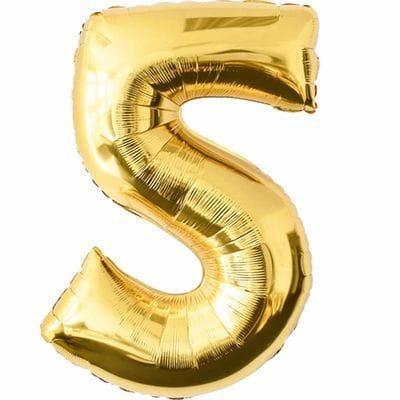 Шар золотая цифра 5