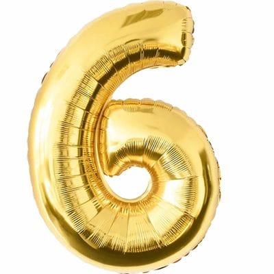 Шар золотая цифра 6