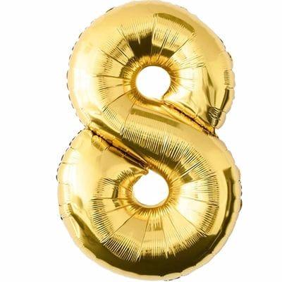 Шар золотая цифра 8