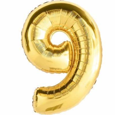 Шар золотая цифра 9