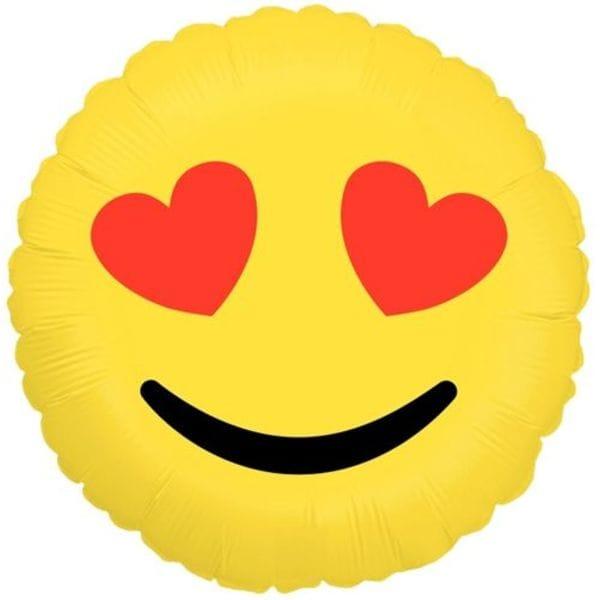 """Воздушные шары. Доставка в Москве: Круг """"Эмодзи LOVE"""", 46 см Цены на https://sharsky.msk.ru/"""