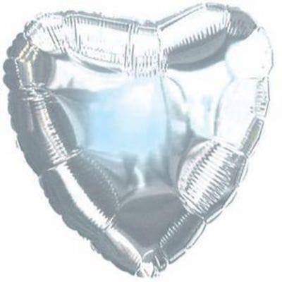 """Шар-Сердце """"Серебряное"""", 46 см"""
