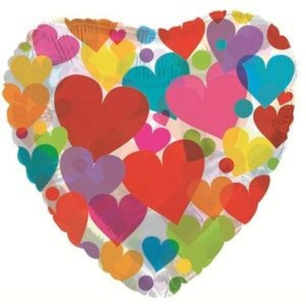 """Воздушные шары. Доставка в Москве: Сердце """"Прозрачное с разноцветными сердцами"""", 46 см Цены на https://sharsky.msk.ru/"""