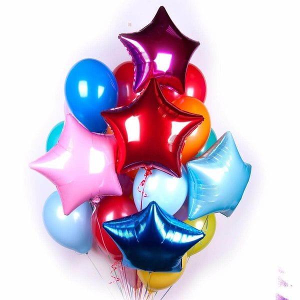 Воздушные шары. Доставка в Москве: Фонтан из 10-ти шаров и 5-ти звезд Цены на https://sharsky.msk.ru/