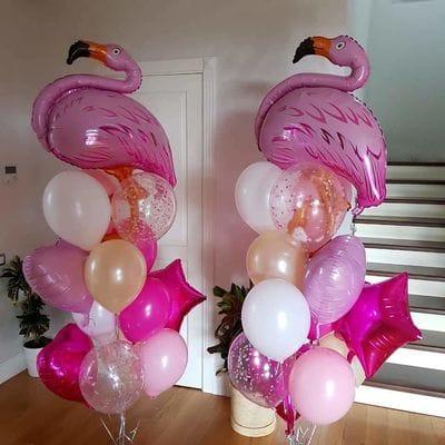 Фонтаны шаров с 2-мя фигурами Фламинго