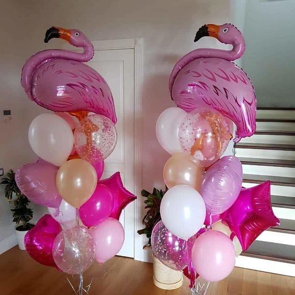 Воздушные шары. Доставка в Москве: Фонтаны шаров с 2-мя фигурами Фламинго Цены на https://sharsky.msk.ru/