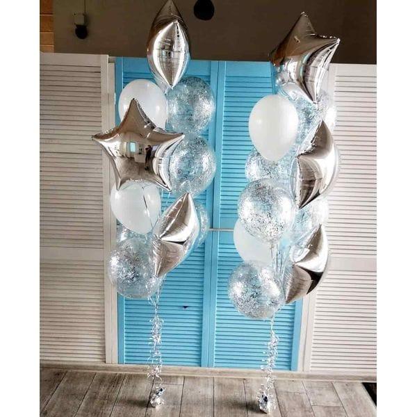 Воздушные шары. Доставка в Москве: 2 фонтана шаров со звездами Цены на https://sharsky.msk.ru/