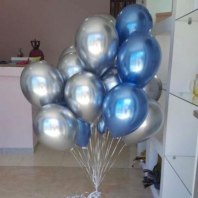 Фонтан шаров Хром синий и серебро