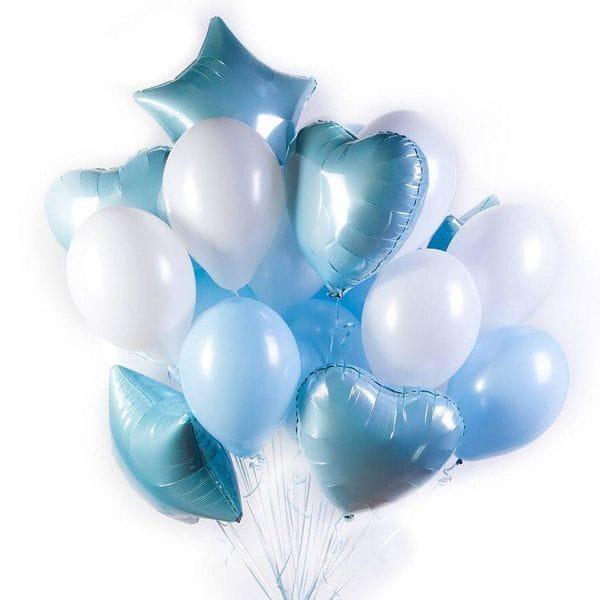 Воздушные шары. Доставка в Москве: Фонтан из шаров сине-белый Цены на https://sharsky.msk.ru/