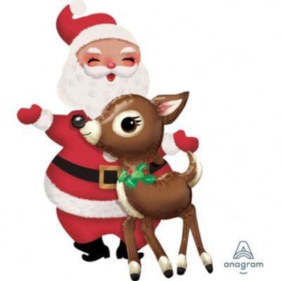 """Ходячая фигура """"Санта Клаус и Олень"""", 121 см"""