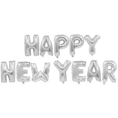 Надпись Happy New Year, серебряная