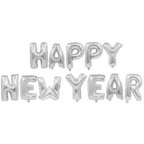 Воздушные шары. Доставка в Москве: Надпись Happy New Year, серебряная Цены на https://sharsky.msk.ru/