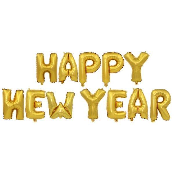 Воздушные шары. Доставка в Москве: Надпись Happy New Year, золотая Цены на https://sharsky.msk.ru/