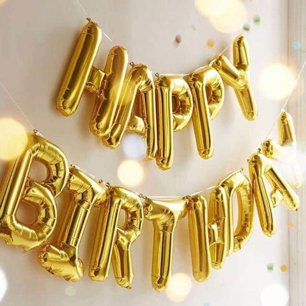 Воздушные шары. Доставка в Москве: Надпись Happy Birthday, золотая Цены на https://sharsky.msk.ru/