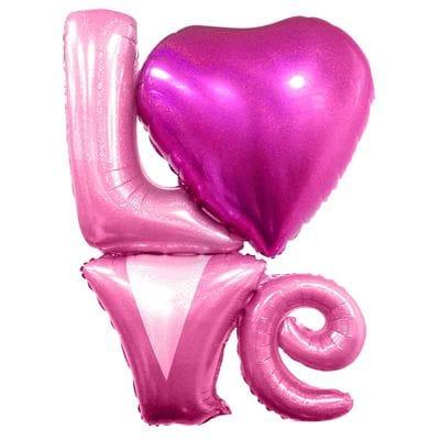 Надпись Love Розовая с Сердцем, 104 см
