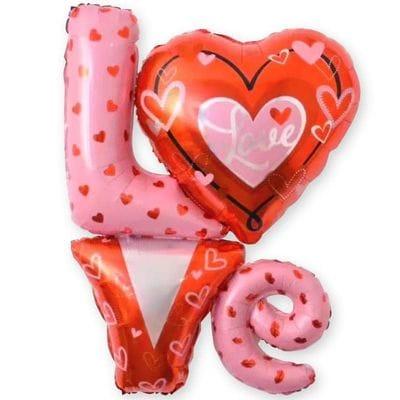 Надпись Love с сердцами, 104 см