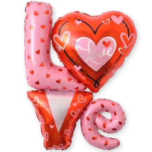 Воздушные шары. Доставка в Москве: Надпись Love с сердцами, 104 см Цены на https://sharsky.msk.ru/