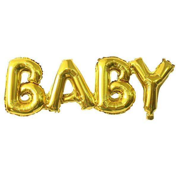Воздушные шары. Доставка в Москве: Надпись Baby Золотая, 81 см Цены на https://sharsky.msk.ru/