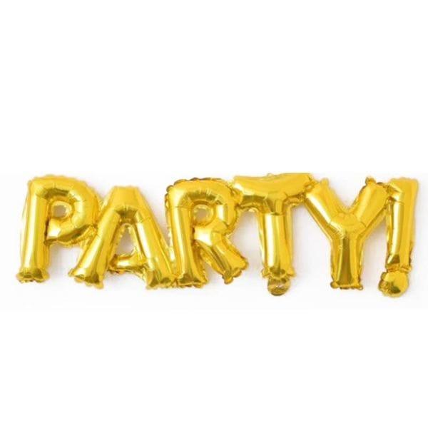 Воздушные шары. Доставка в Москве: Надпись Party Золотая, 107 см Цены на https://sharsky.msk.ru/