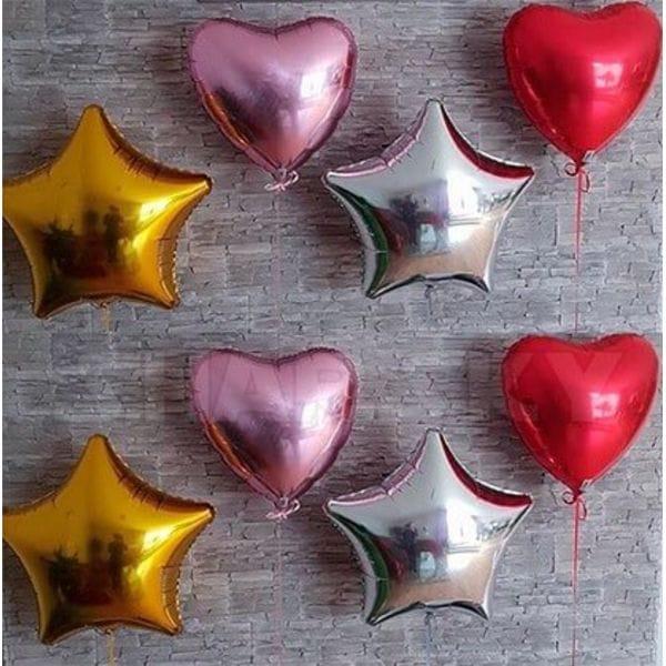 Воздушные шары. Доставка в Москве: 4 сердца, 46 см; 4 звезды, 46 см Цены на https://sharsky.msk.ru/