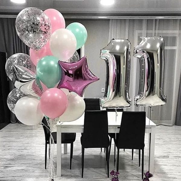 Воздушные шары. Доставка в Москве: Букет шаров на 11 лет Цены на https://sharsky.msk.ru/