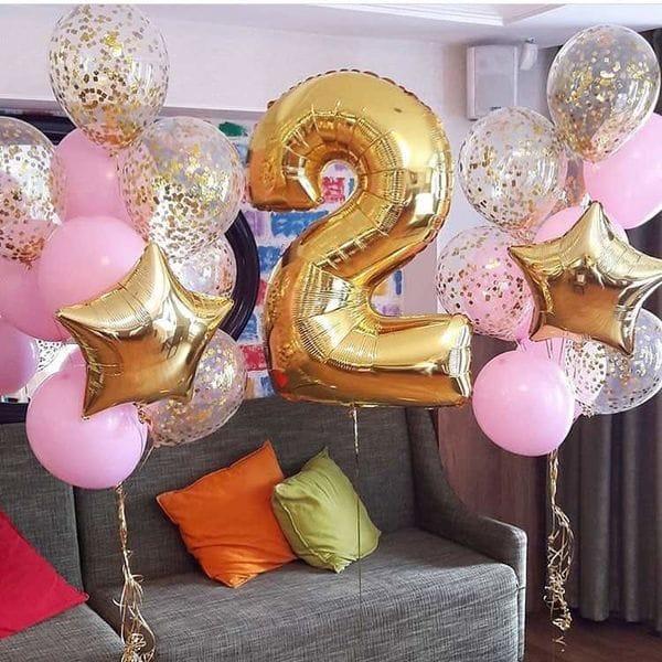 Воздушные шары. Доставка в Москве: Шарики на День Рождения девочке на 2 годика Цены на https://sharsky.msk.ru/