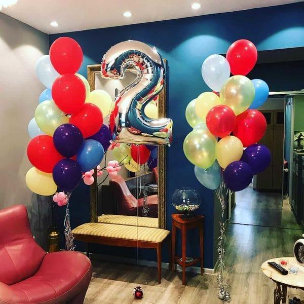 Воздушные шары. Доставка в Москве: Букет шариков на 2 года Цены на https://sharsky.msk.ru/