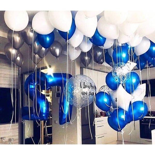 Воздушные шары. Доставка в Москве: Бело-голубая роскошь на 27 лет Цены на https://sharsky.msk.ru/