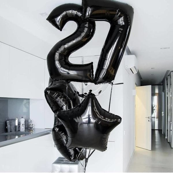 Воздушные шары. Доставка в Москве: Букет с черными шарами на 27 лет Цены на https://sharsky.msk.ru/