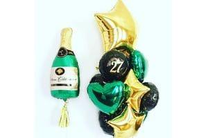 Букет шаров на 27 лет с шампанским