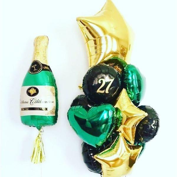 Воздушные шары. Доставка в Москве: Букет шаров на 27 лет с шампанским Цены на https://sharsky.msk.ru/