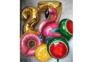 Букет шаров с фламинго на 27 лет