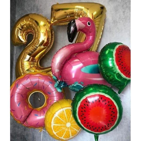 Воздушные шары. Доставка в Москве: Букет шаров с фламинго на 27 лет Цены на https://sharsky.msk.ru/