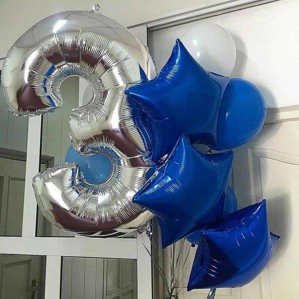 Воздушные шары. Доставка в Москве: Букет шаров на 3 года Цены на https://sharsky.msk.ru/
