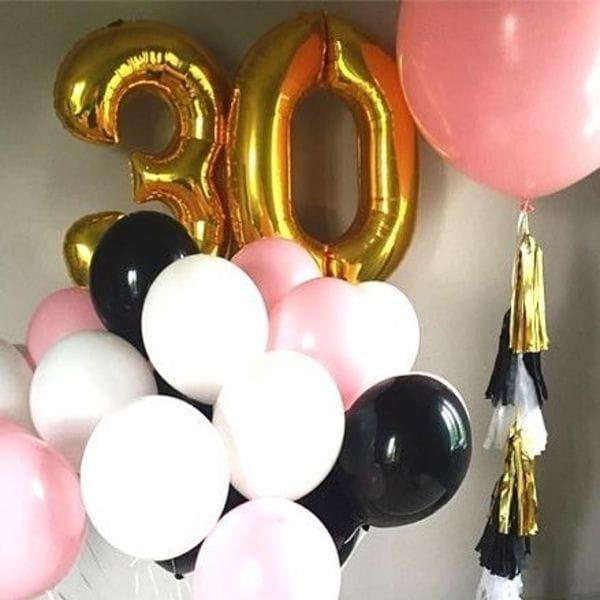 Воздушные шары. Доставка в Москве: Букет с большим шаром на 30 лет девушке Цены на https://sharsky.msk.ru/
