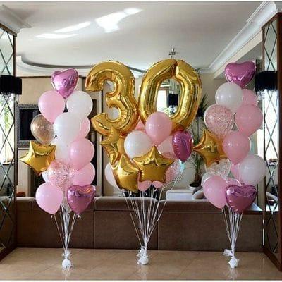 Украшение фонтанами шаров на 30 лет