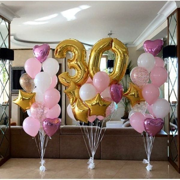 Воздушные шары. Доставка в Москве: Украшение фонтанами шаров на 30 лет Цены на https://sharsky.msk.ru/