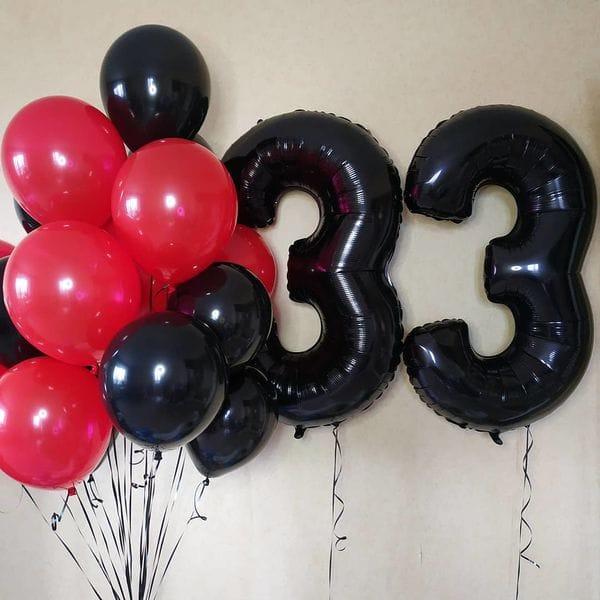 Воздушные шары. Доставка в Москве: Шары на День Рождения 33 года Цены на https://sharsky.msk.ru/