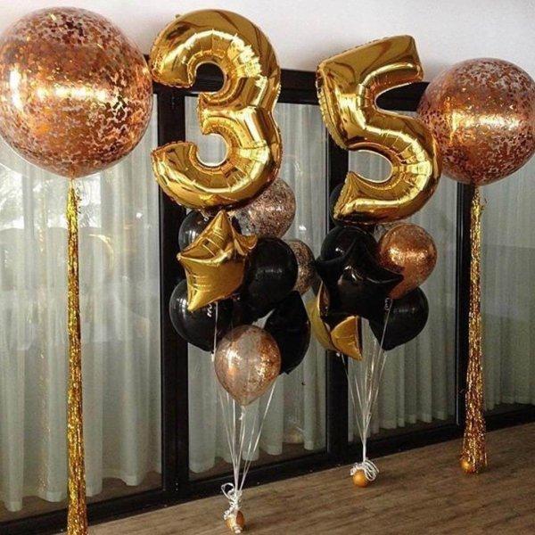 Воздушные шары. Доставка в Москве: Украшение шарами на 35 лет Цены на https://sharsky.msk.ru/