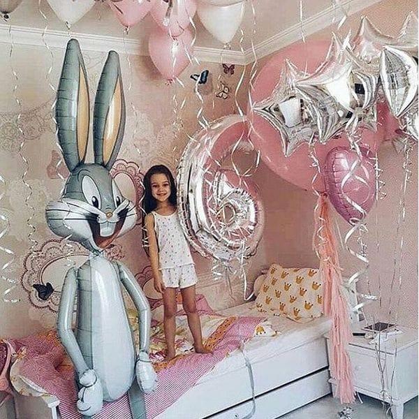 Воздушные шары. Доставка в Москве: Шары для девочки на 6 лет с Багзом Банни Цены на https://sharsky.msk.ru/