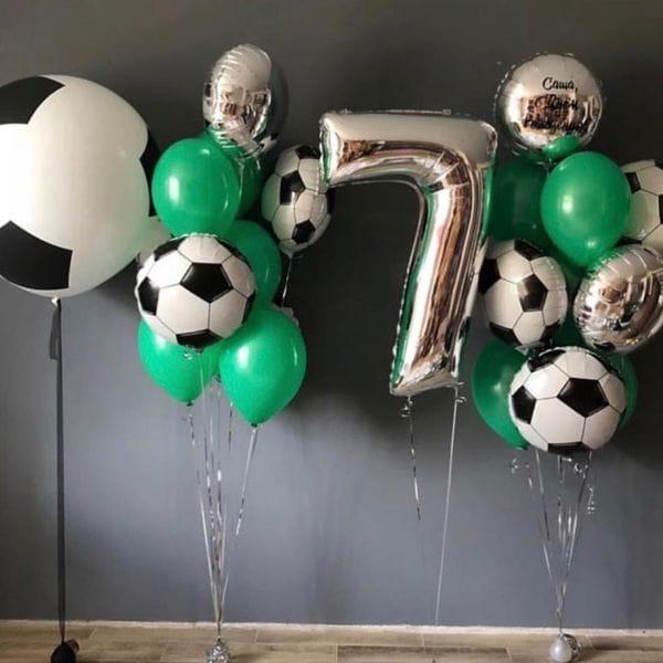 Воздушные шары. Доставка в Москве: Букет с футбольными шарами на 7 лет мальчику Цены на https://sharsky.msk.ru/