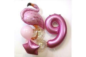 Букет шаров на 9 лет девочке с фламинго