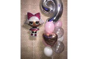 Букет шаров на 9 лет с куклой ЛОЛ