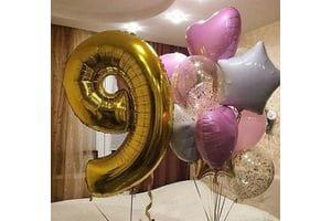 Композиция из шаров на 9 лет девочке