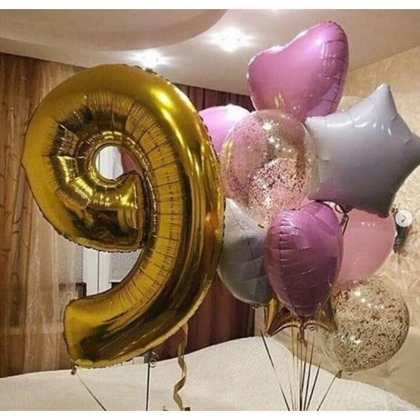 Воздушные шары. Доставка в Москве: Композиция из шаров на 9 лет девочке  Цены на https://sharsky.msk.ru/