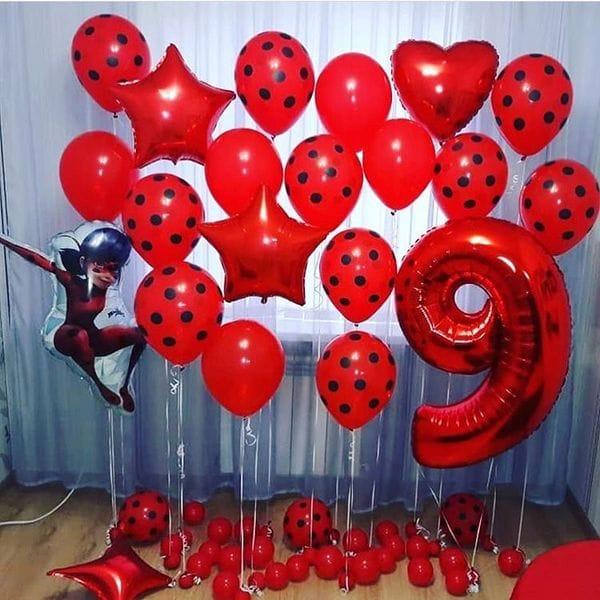 Воздушные шары. Доставка в Москве: Украшение шарами на 9 лет с Леди Баг Цены на https://sharsky.msk.ru/