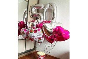 Украшение шарами на 50 лет