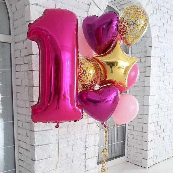 Воздушные шары. Доставка в Москве: Композиция из шаров на год девочке Цены на https://sharsky.msk.ru/