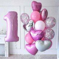 Воздушные шарики на годик девочке