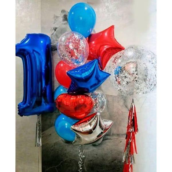Воздушные шары. Доставка в Москве: Фонтан из шариков на годик мальчику Цены на https://sharsky.msk.ru/